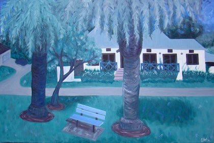 (CreativeWork) Suburbia by Rebecca Westlund. oil-painting. Shop online at Bluethumb.