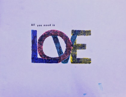 (CreativeWork) All you need is love by Jim Shorto. print. Shop online at Bluethumb.