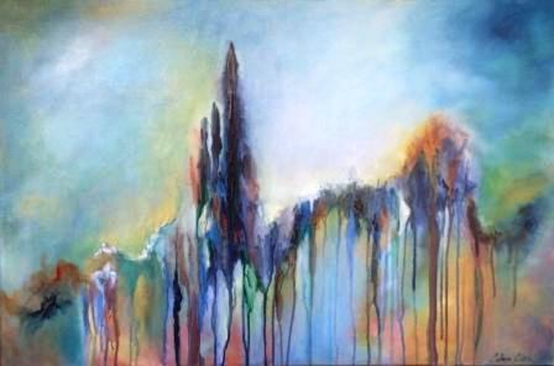 (CreativeWork) From the Point of Reason all Thoughts Flow by Colleen Clark. arcylic-painting. Shop online at Bluethumb.
