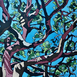 (CreativeWork) Angophora 3 by Ingrid Russell. arcylic-painting. Shop online at Bluethumb.