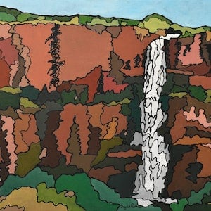 (CreativeWork) Falls in the Kimberlies by Ingrid Russell. acrylic-painting. Shop online at Bluethumb.