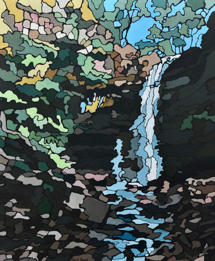 (CreativeWork) Mountains Falls by Ingrid Russell. arcylic-painting. Shop online at Bluethumb.