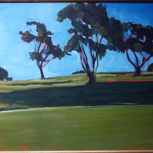 (CreativeWork) On the green 2 by Pete GAILEY. oil-painting. Shop online at Bluethumb.