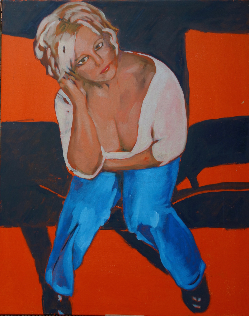(CreativeWork) Girl at a party by Pete GAILEY. oil-painting. Shop online at Bluethumb.