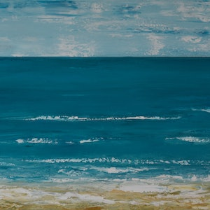 (CreativeWork) Blue Horizon by Deborah Christensen. acrylic-painting. Shop online at Bluethumb.