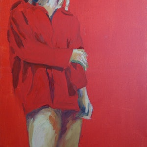 (CreativeWork) The Red Shirt by Pete GAILEY. oil-painting. Shop online at Bluethumb.