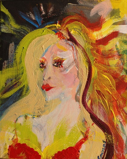 (CreativeWork) LADY FROM THE FLATS by Shaun J Myles. arcylic-painting. Shop online at Bluethumb.