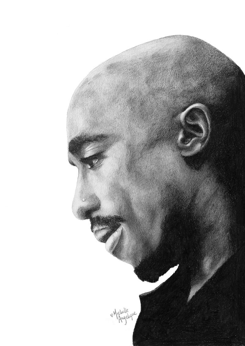 (CreativeWork) Tupac by Michelle Angelique. drawing. Shop online at Bluethumb.