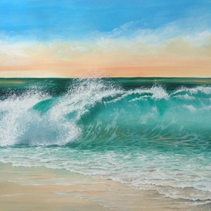 (CreativeWork) Curling Wave by Christine Young. arcylic-painting. Shop online at Bluethumb.