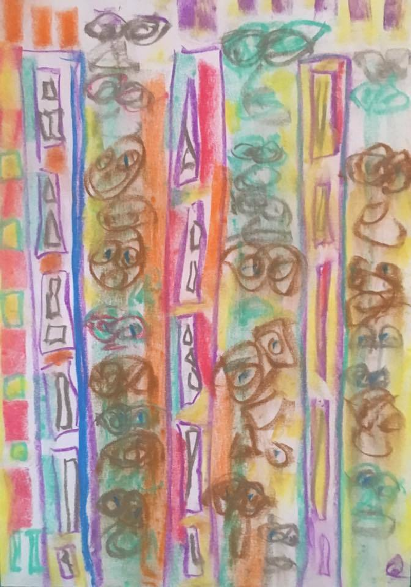 (CreativeWork) Totems in the Grocery Isle by Gregory Charles. drawing. Shop online at Bluethumb.