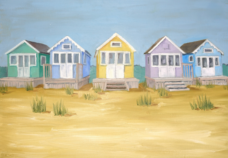 (CreativeWork) Beach huts.  by Damon Lucas. oil-painting. Shop online at Bluethumb.