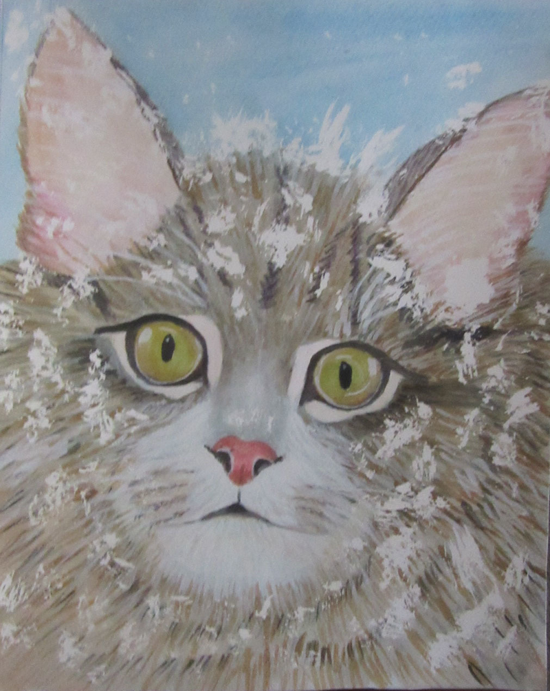 (CreativeWork) Snow Cat by Svetlana Cook. watercolour. Shop online at Bluethumb.