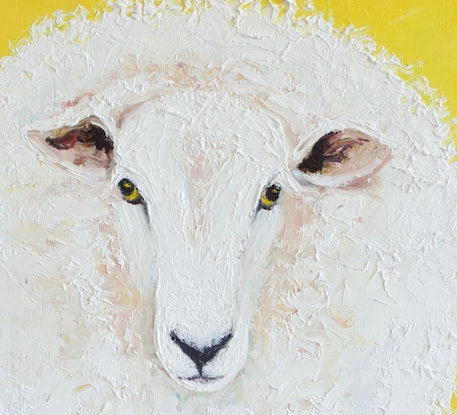 (CreativeWork) White Sheep on yellow background by Jan Matson. Oil Paint. Shop online at Bluethumb.
