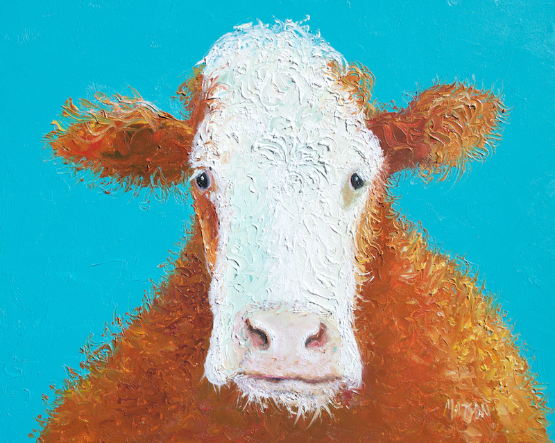 (CreativeWork) Odette - Hereford cow by Jan Matson. oil-painting. Shop online at Bluethumb.