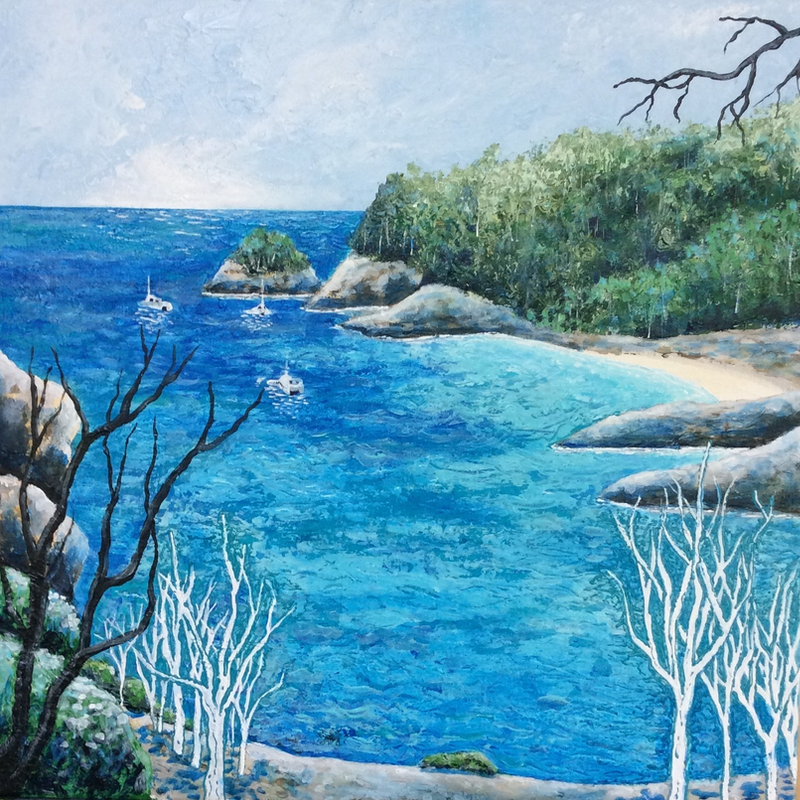 (CreativeWork) Pearl of the Whitsundays by Diane McDonald. arcylic-painting. Shop online at Bluethumb.