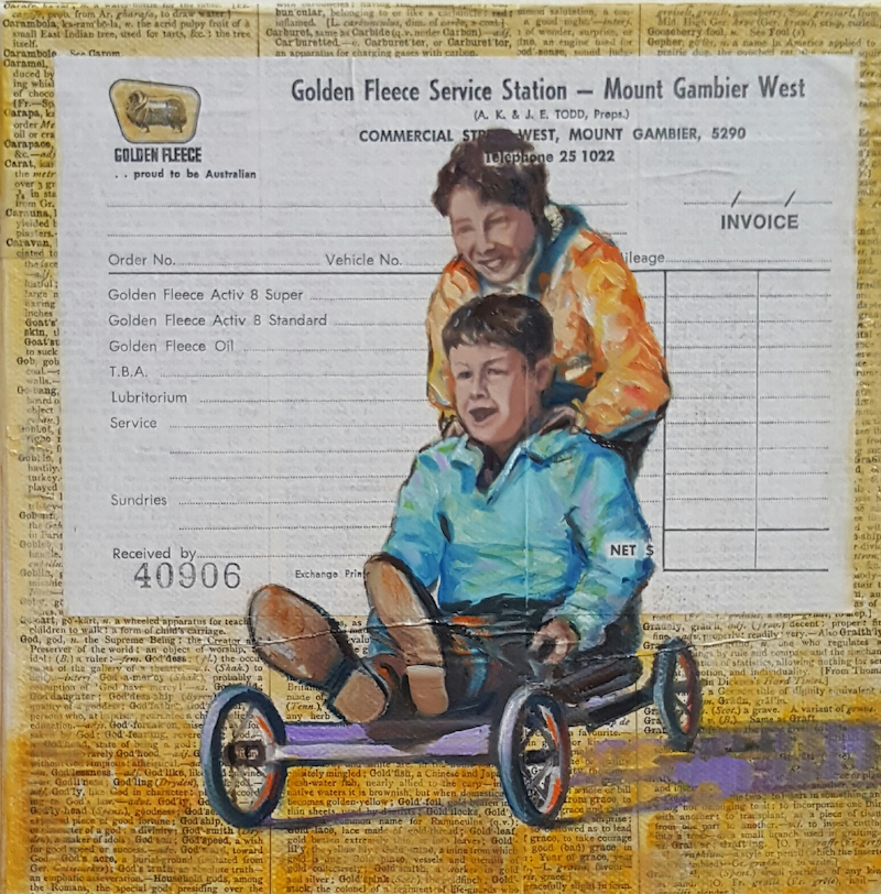 (CreativeWork) The Gooseberry Fools  by Sherry McCourt. mixed-media. Shop online at Bluethumb.