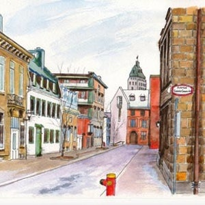(CreativeWork) Avenue Sainte Geneviève, Québec City, QC, Canada by Dai Wynn. watercolour. Shop online at Bluethumb.
