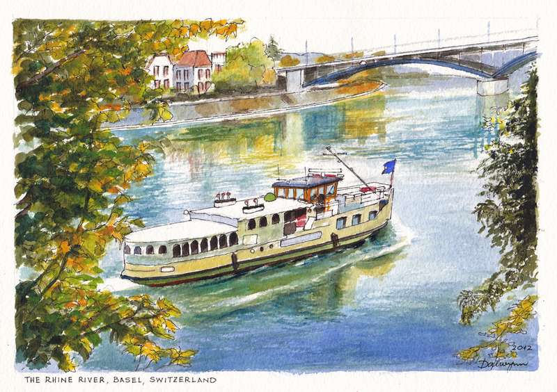 (CreativeWork) The Rhine River at Basel Switzerland by Dai Wynn. watercolour. Shop online at Bluethumb.
