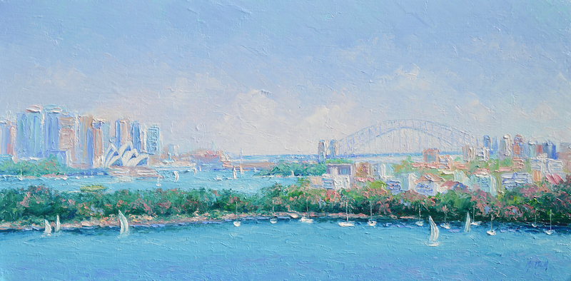 (CreativeWork) Sydney Harbour and the Opera House by Jan Matson. oil-painting. Shop online at Bluethumb.