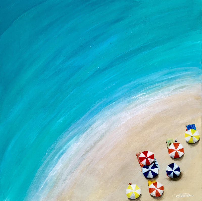 (CreativeWork) Umbrellas by the sea by Colleen Palmer. arcylic-painting. Shop online at Bluethumb.