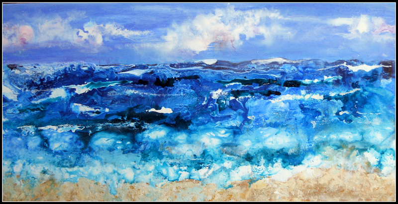 (CreativeWork) The Angry Ocean by linda bartlett. mixed-media. Shop online at Bluethumb.