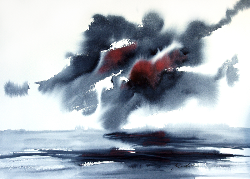 (CreativeWork) Storm by Jill Bryant. watercolour. Shop online at Bluethumb.
