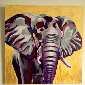(CreativeWork) Colourful elephant by Deb Krinas. arcylic-painting. Shop online at Bluethumb.