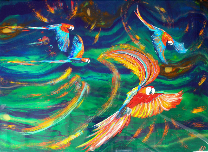 (CreativeWork) A Riot of Colour/Flying Rainbow Lorikeets by Melinda Williams. mixed-media. Shop online at Bluethumb.