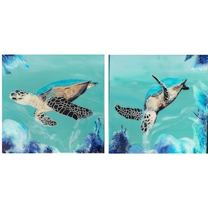 (CreativeWork) Blue Turtles (2 boards) by Melinda Williams. mixed-media. Shop online at Bluethumb.