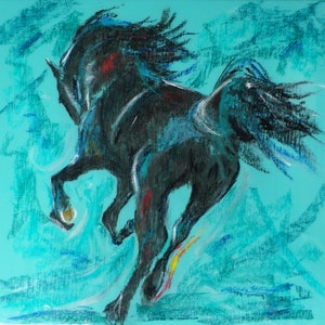 (CreativeWork) The Pastel Horse by Melinda Williams. acrylic-painting. Shop online at Bluethumb.