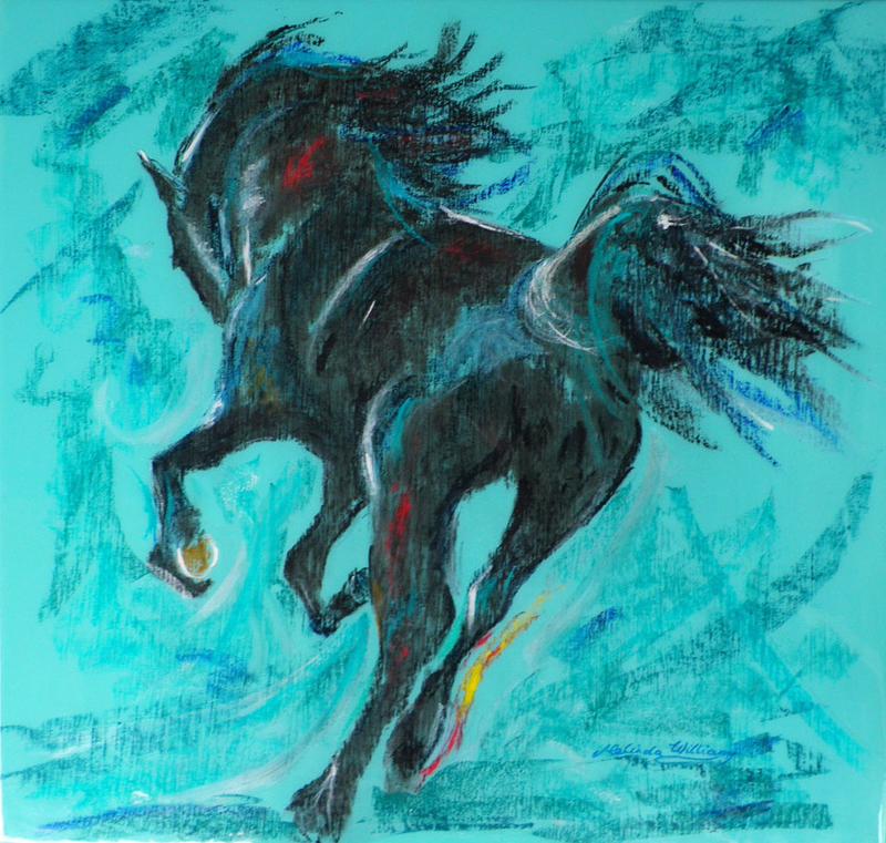 (CreativeWork) The Pastel Horse by Melinda Williams. arcylic-painting. Shop online at Bluethumb.