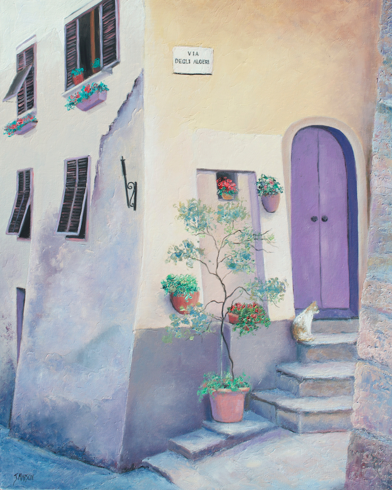 (CreativeWork) The Violet Door by Jan Matson. oil-painting. Shop online at Bluethumb.