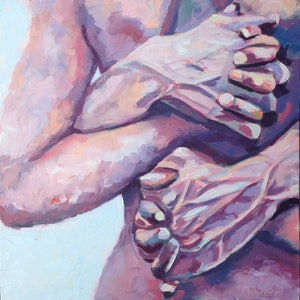 (CreativeWork) Four Hands by Elizabeth Whiteman. oil-painting. Shop online at Bluethumb.