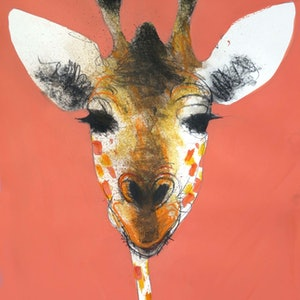 (CreativeWork) Giraffe on salmon pink  by John Graham. mixed-media. Shop online at Bluethumb.