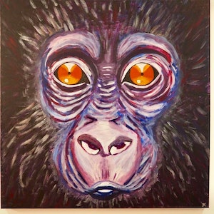 (CreativeWork) Baby gorilla by Deb Krinas. arcylic-painting. Shop online at Bluethumb.