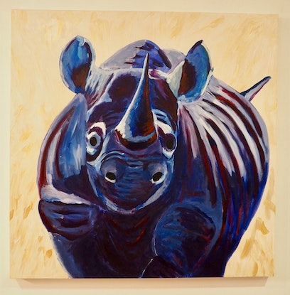 (CreativeWork) Blue rhino  by Deb Krinas. Acrylic Paint. Shop online at Bluethumb.