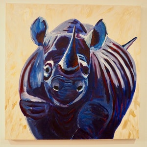 (CreativeWork) Blue rhino  by Deb Krinas. acrylic-painting. Shop online at Bluethumb.