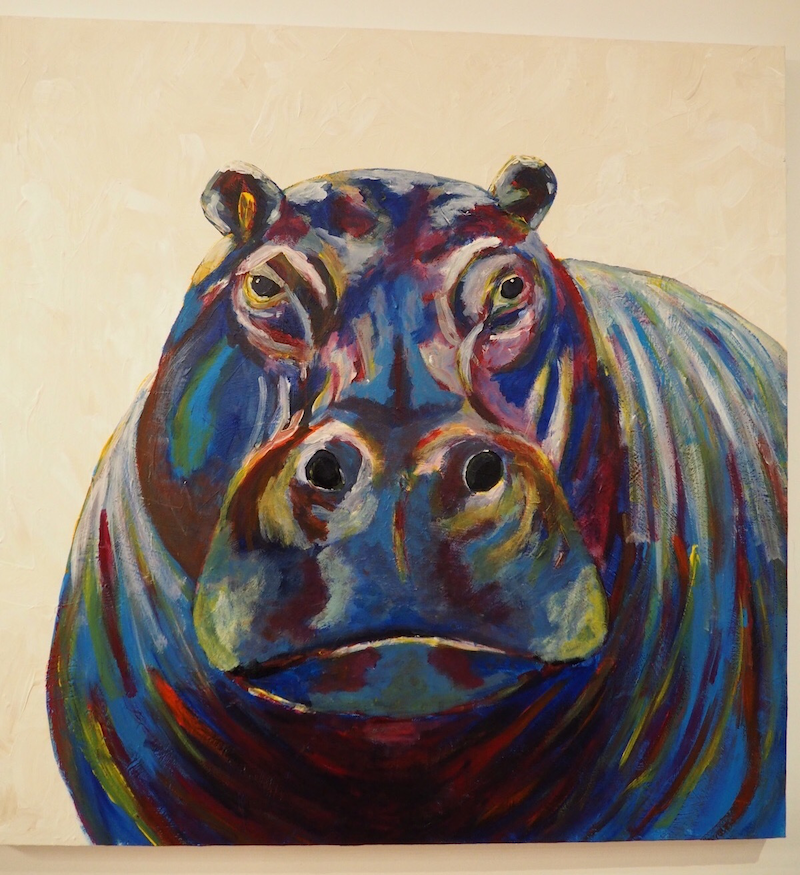 (CreativeWork) Colorful hippopotamus by Deb Krinas. arcylic-painting. Shop online at Bluethumb.