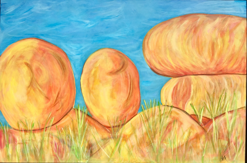 (CreativeWork) Devils Marbles  by Lizzie Alsop. arcylic-painting. Shop online at Bluethumb.