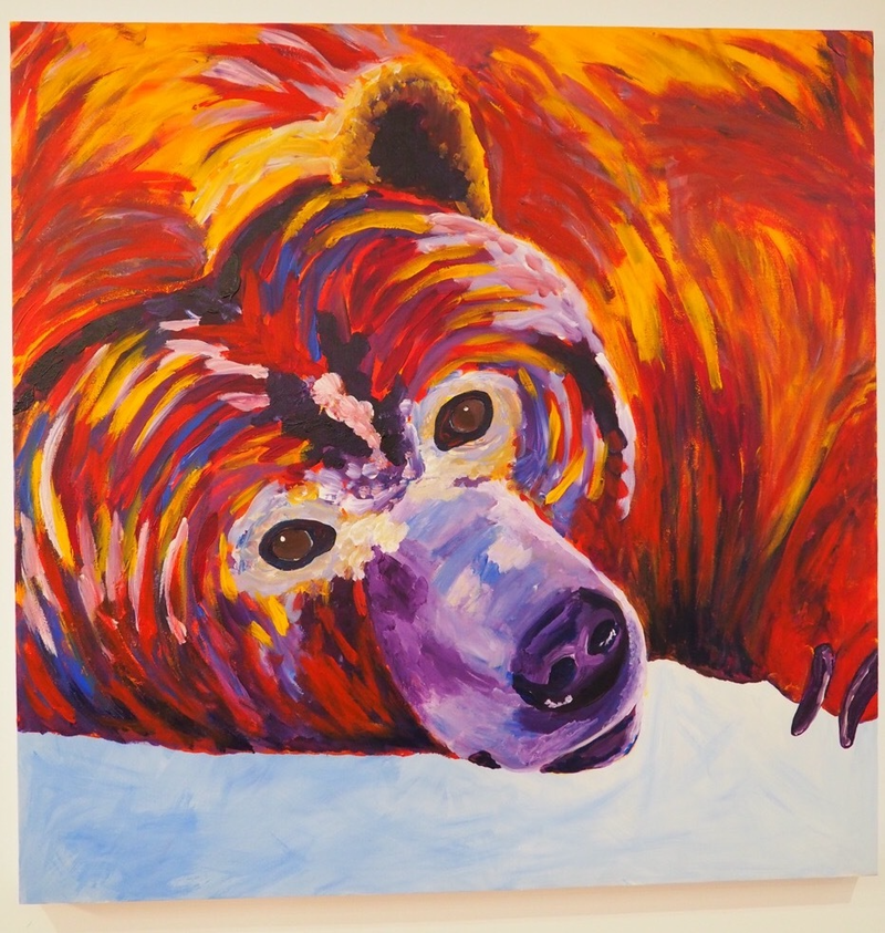 (CreativeWork) Bear in snow by Deb Krinas. acrylic-painting. Shop online at Bluethumb.