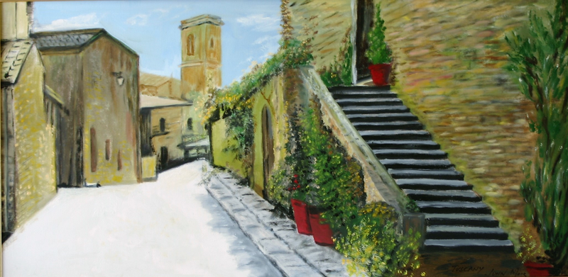(CreativeWork) Tuscan Village by John MOIR. oil-painting. Shop online at Bluethumb.