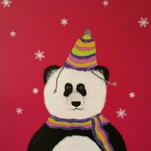 (CreativeWork) Raspberry Panda Bear by Karen McKenzie. acrylic-painting. Shop online at Bluethumb.