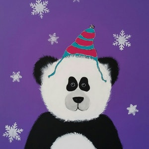 (CreativeWork) Purple Panda by Karen McKenzie. acrylic-painting. Shop online at Bluethumb.