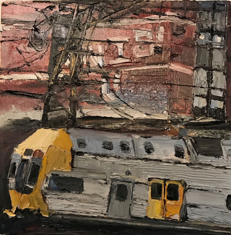 (CreativeWork) Sydney Trains by Karen Farmer. oil-painting. Shop online at Bluethumb.
