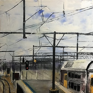(CreativeWork) Sydney Commuting by Karen Farmer. oil-painting. Shop online at Bluethumb.