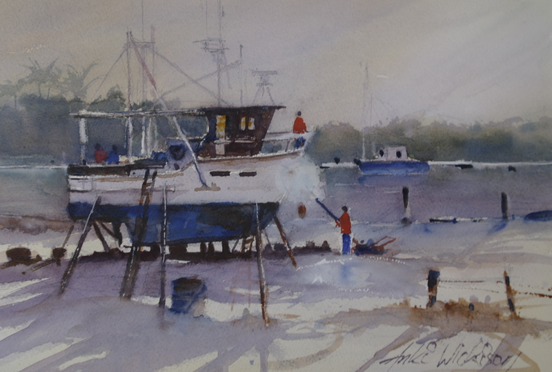 (CreativeWork) UP ON THE SLIP by Anki Wickison. watercolour. Shop online at Bluethumb.