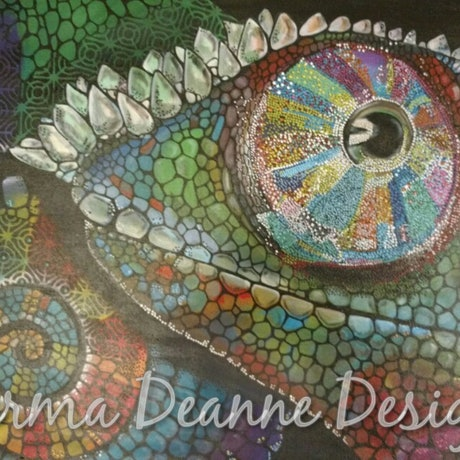 (CreativeWork) Chameleon  by Sharma Ferguson. Acrylic Paint. Shop online at Bluethumb.