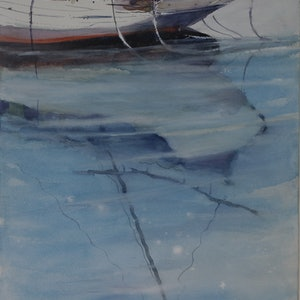 (CreativeWork) REFLECTIONS FROM OLD SCHOONER by Anki Wickison. watercolour. Shop online at Bluethumb.