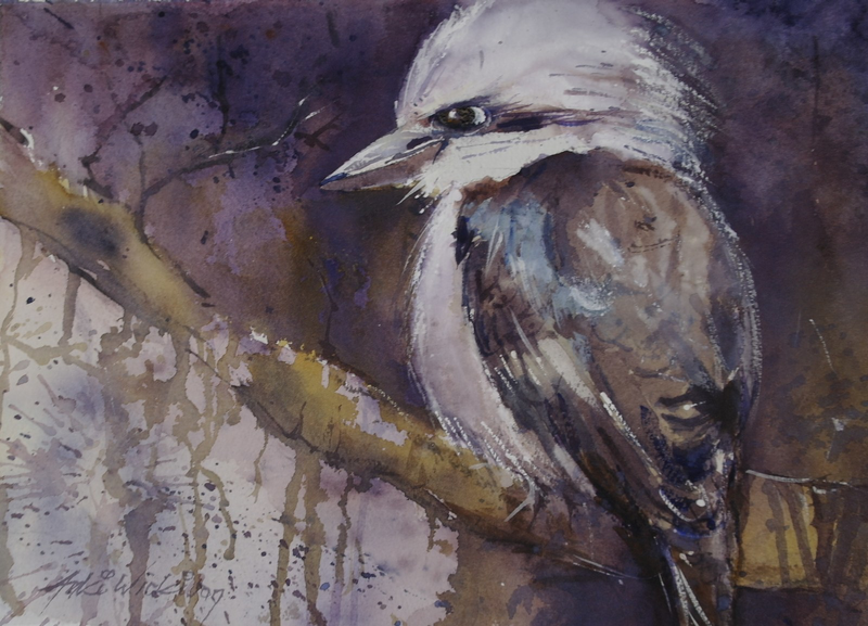 (CreativeWork) KOOKABURRA  BABY by Anki Wickison. watercolour. Shop online at Bluethumb.