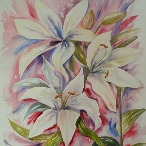 (CreativeWork) 'White Lilies' by Susan Capan. #<Filter:0x00007f7cbcc76e98>. Shop online at Bluethumb.
